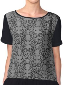 Vintage Floral Charcoal Pewter Chiffon Top