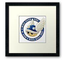 Menacing Blue Shell Framed Print