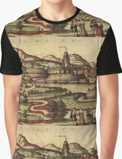 Kassel Vintage map.Geography Germany ,city view,building,political,Lithography,historical fashion,geo design,Cartography,Country,Science,history,urban Graphic T-Shirt