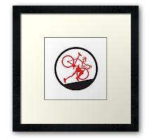 Cyclocross Athlete Running Uphill Circle Framed Print