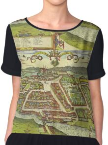 Kolding Vintage map.Geography Denmark ,city view,building,political,Lithography,historical fashion,geo design,Cartography,Country,Science,history,urban Chiffon Top