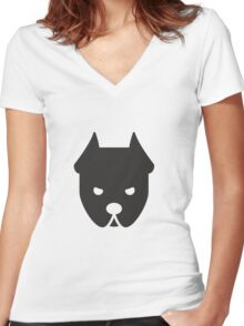 Mad Bull Dog in Black Women's Fitted V-Neck T-Shirt