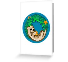 Otter Holiday Wreath Greeting Card