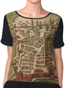 La Rochelle Vintage map.Geography France ,city view,building,political,Lithography,historical fashion,geo design,Cartography,Country,Science,history,urban Chiffon Top