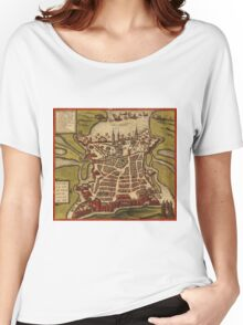 La Rochelle Vintage map.Geography France ,city view,building,political,Lithography,historical fashion,geo design,Cartography,Country,Science,history,urban Women's Relaxed Fit T-Shirt