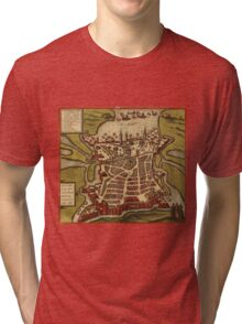 La Rochelle Vintage map.Geography France ,city view,building,political,Lithography,historical fashion,geo design,Cartography,Country,Science,history,urban Tri-blend T-Shirt