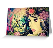 Grunge Summer Girl with Floral 3 Greeting Card