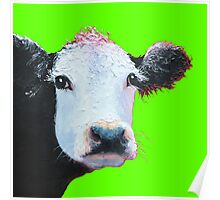 Black and white cow on lime green Poster