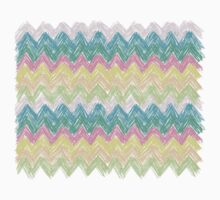 Pastel Sketch Zig Zag Chevron One Piece - Short Sleeve
