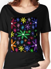 Colorful Retro Flowers on Black Women's Relaxed Fit T-Shirt