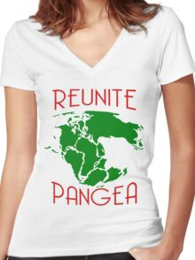 Funny Reunite Pangea Women's Fitted V-Neck T-Shirt