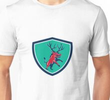 Razorback Antlers Prancing Crest Retro Unisex T-Shirt