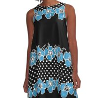 Blue flowers on black and white background with polka dots. A-Line Dress