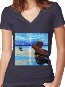 Broken Boats Women's Fitted V-Neck T-Shirt