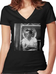 Brian Fallon Black & White Women's Fitted V-Neck T-Shirt