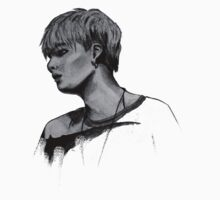Min Yoongi Grey-scale sketch Kids Tee