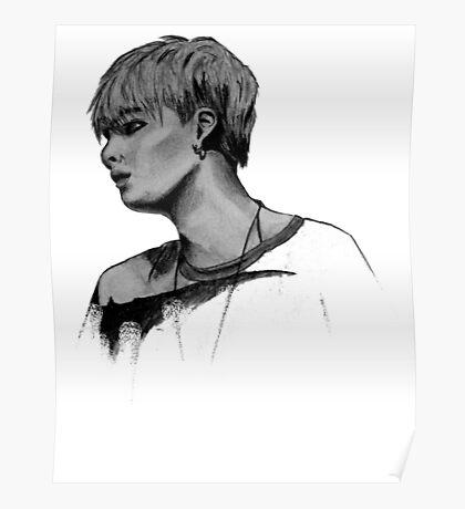 Min Yoongi Grey-scale sketch Poster