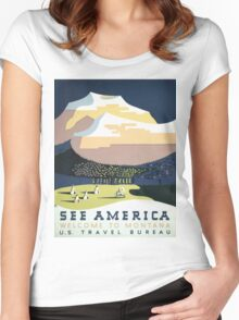 See America Welcome To Montana Vintage Travel Poster Women's Fitted Scoop T-Shirt