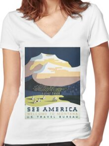See America Welcome To Montana Vintage Travel Poster Women's Fitted V-Neck T-Shirt
