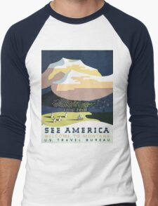 See America Welcome To Montana Vintage Travel Poster Men's Baseball ¾ T-Shirt