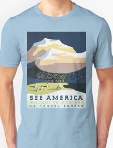 See America Welcome To Montana Vintage Travel Poster Unisex T-Shirt