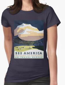 See America Welcome To Montana Vintage Travel Poster Womens Fitted T-Shirt