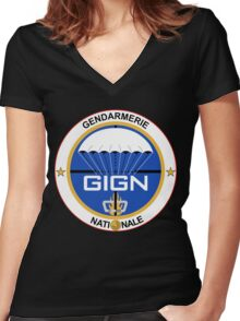 GIGN France Special Forces Women's Fitted V-Neck T-Shirt