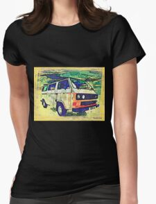 Retro wedge Womens Fitted T-Shirt