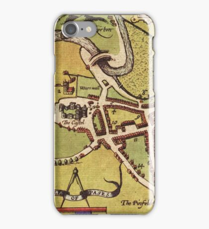 Lancaster Vintage map.Geography Great Britain ,city view,building,political,Lithography,historical fashion,geo design,Cartography,Country,Science,history,urban iPhone Case/Skin