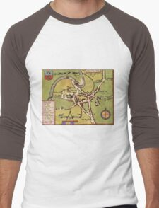 Lancaster Vintage map.Geography Great Britain ,city view,building,political,Lithography,historical fashion,geo design,Cartography,Country,Science,history,urban Men's Baseball ¾ T-Shirt