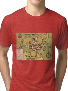 Lancaster Vintage map.Geography Great Britain ,city view,building,political,Lithography,historical fashion,geo design,Cartography,Country,Science,history,urban Tri-blend T-Shirt