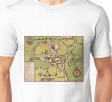 Lancaster Vintage map.Geography Great Britain ,city view,building,political,Lithography,historical fashion,geo design,Cartography,Country,Science,history,urban Unisex T-Shirt
