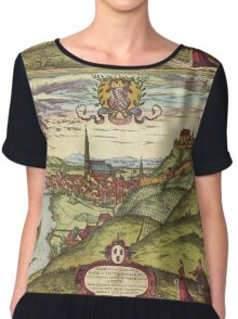 Landshut Vintage map.Geography Germany ,city view,building,political,Lithography,historical fashion,geo design,Cartography,Country,Science,history,urban Chiffon Top