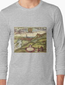 Landshut Vintage map.Geography Germany ,city view,building,political,Lithography,historical fashion,geo design,Cartography,Country,Science,history,urban Long Sleeve T-Shirt