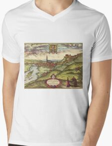 Landshut Vintage map.Geography Germany ,city view,building,political,Lithography,historical fashion,geo design,Cartography,Country,Science,history,urban Mens V-Neck T-Shirt