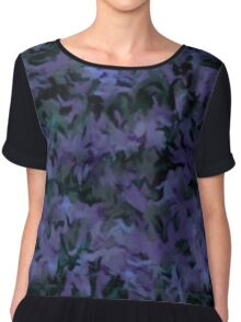 Retro Abstract Charcoal Amethyst Chiffon Top