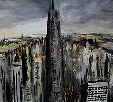 Empire State Building New York Cityscape East Coast America Contemporary Acrylic Painting by JamesPeart