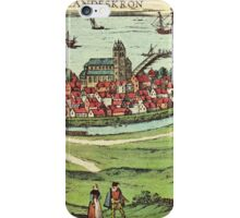 Landskrona Vintage map.Geography Sweden ,city view,building,political,Lithography,historical fashion,geo design,Cartography,Country,Science,history,urban iPhone Case/Skin