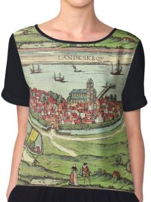 Landskrona Vintage map.Geography Sweden ,city view,building,political,Lithography,historical fashion,geo design,Cartography,Country,Science,history,urban Chiffon Top