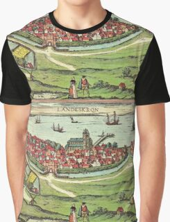 Landskrona Vintage map.Geography Sweden ,city view,building,political,Lithography,historical fashion,geo design,Cartography,Country,Science,history,urban Graphic T-Shirt