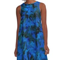 Retro Abstract Charcoal Sapphire Blue A-Line Dress