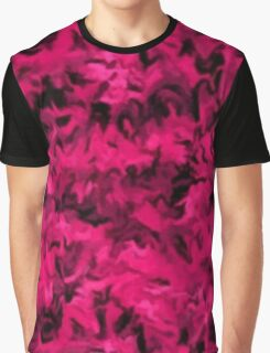 Retro Abstract Magenta Rose Graphic T-Shirt