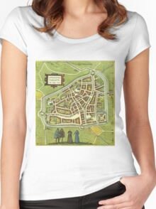Leeuwaerden Vintage map.Geography Netherlands ,city view,building,political,Lithography,historical fashion,geo design,Cartography,Country,Science,history,urban Women's Fitted Scoop T-Shirt