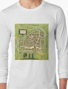 Leeuwaerden Vintage map.Geography Netherlands ,city view,building,political,Lithography,historical fashion,geo design,Cartography,Country,Science,history,urban Long Sleeve T-Shirt