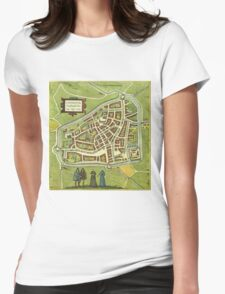 Leeuwaerden Vintage map.Geography Netherlands ,city view,building,political,Lithography,historical fashion,geo design,Cartography,Country,Science,history,urban Womens Fitted T-Shirt