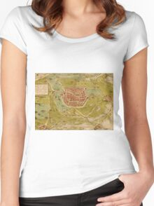 Leiden Vintage map.Geography Netherlands ,city view,building,political,Lithography,historical fashion,geo design,Cartography,Country,Science,history,urban Women's Fitted Scoop T-Shirt