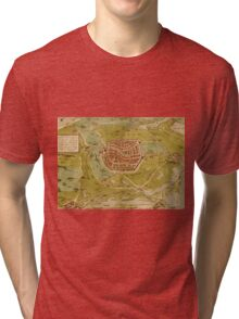 Leiden Vintage map.Geography Netherlands ,city view,building,political,Lithography,historical fashion,geo design,Cartography,Country,Science,history,urban Tri-blend T-Shirt