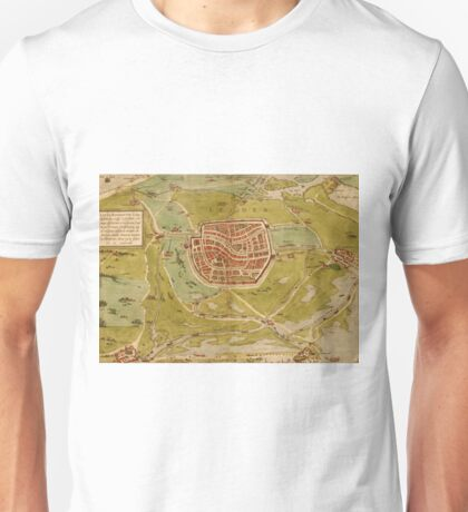 Leiden Vintage map.Geography Netherlands ,city view,building,political,Lithography,historical fashion,geo design,Cartography,Country,Science,history,urban Unisex T-Shirt