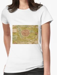 Leiden Vintage map.Geography Netherlands ,city view,building,political,Lithography,historical fashion,geo design,Cartography,Country,Science,history,urban Womens Fitted T-Shirt