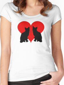 Cats with heart Women's Fitted Scoop T-Shirt